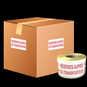 étiquettes réserves auprès du transporteur