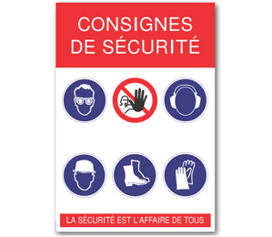 Affiche «consignes de sécurité» adhésive