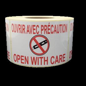 Étiquettes Ouvrir avec précaution - open with care