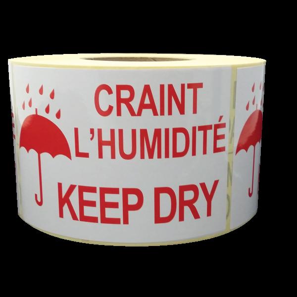 Étiquettes craint l'humidité - keep dry