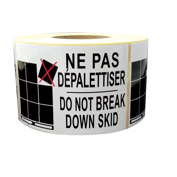 étiquettes ne pas dépalettiser do not break down skid