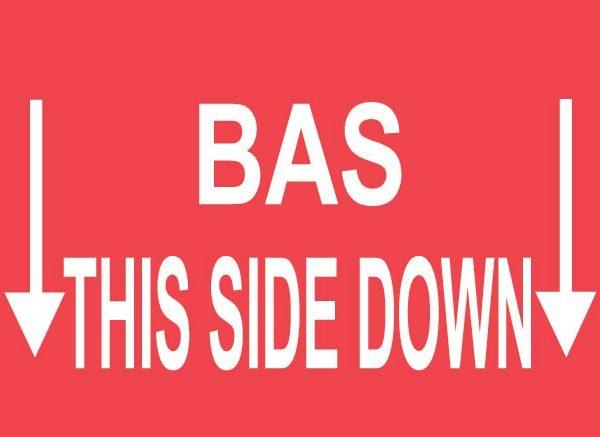 Étiquettes bas - this side down